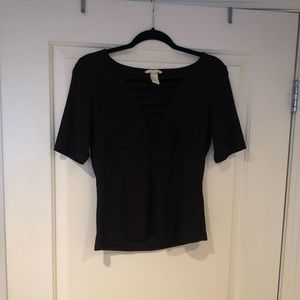 NWOT Black Ladder Ribbed Top H&M